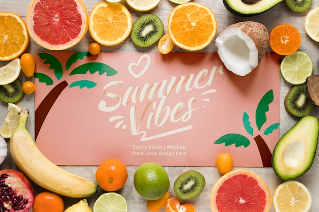 Summer vibes with collection of exotic fruits