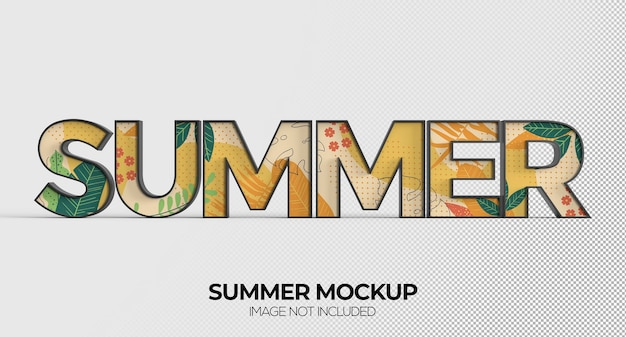 広告またはブランディング用の夏の単語記号のモックアップ