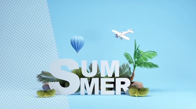 Летнее слово с тропическими деревьями и воздушным шаром