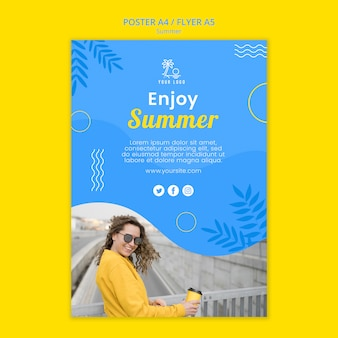 Summertime daylight and woman poster template