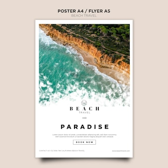 Summertime ocean waves poster template
