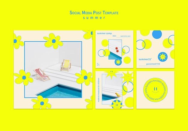여름철 소셜 미디어 포스트 컬렉션 무료 PSD 파일