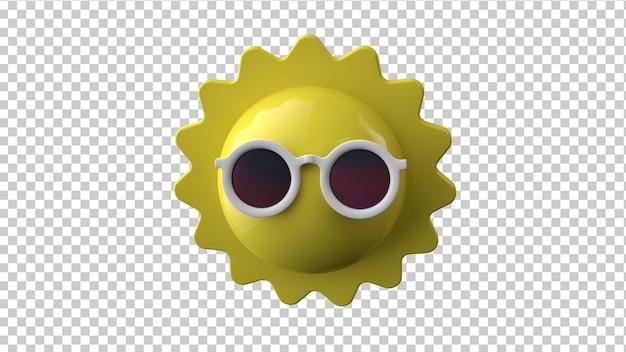 Sun in sunglasses 3d rendering