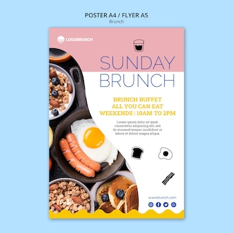 Sunday brunch food poster template