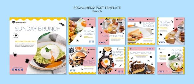 Modello di post social media cibo brunch della domenica