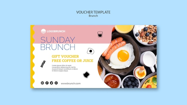 Sunday brunch food voucher template