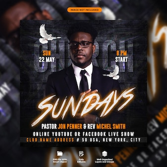 Sundays church conference flyer and social media banner template