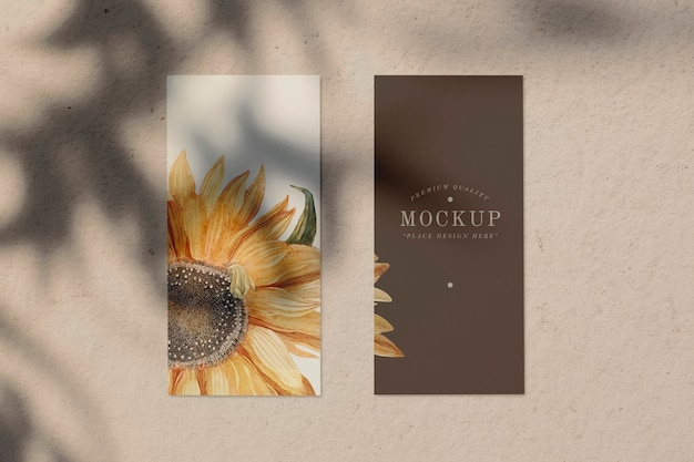 Sunflower design menu card mockup