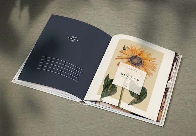 Sunflower on a magazine mockup