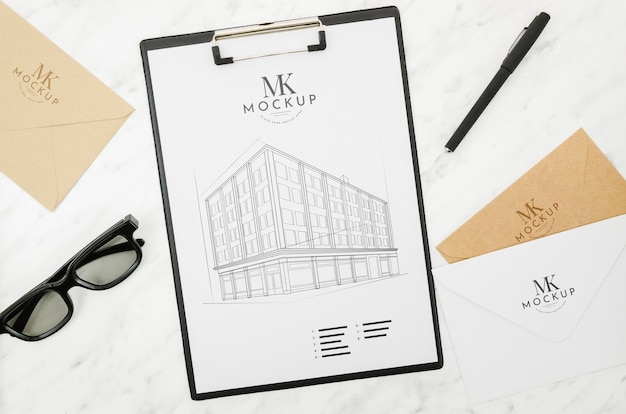 Sunglasses and architecture outdoors mock-up