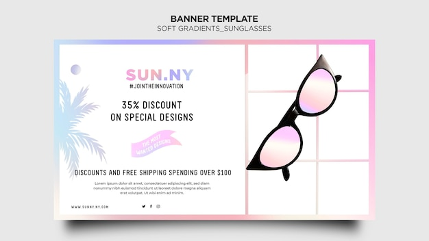 Шаблон баннера магазина солнцезащитных очков