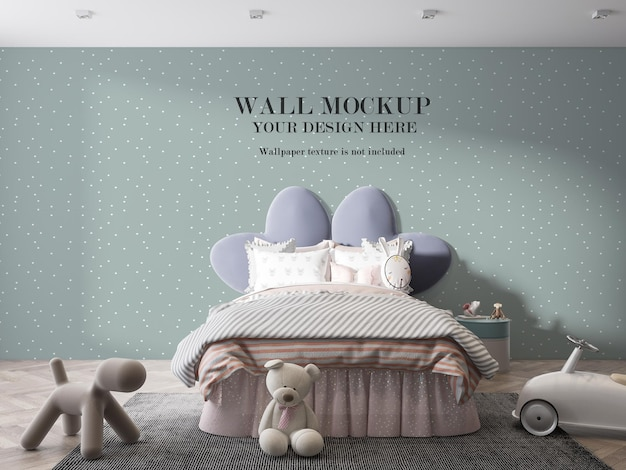 子供の寝室のモックアップの壁に当たる日光