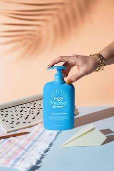 Sunscreen lotion in summer traveling arrangement