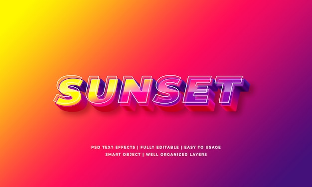 Sunset 3d text style effect