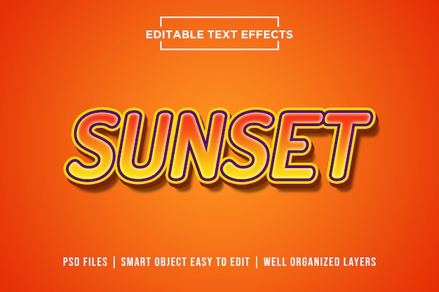 Sunset 3d text style