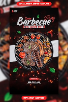 Super barbecue party instagram and facebook story template