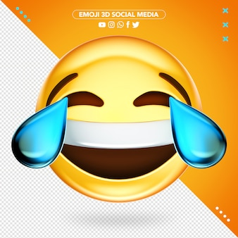 Super cheerful 3d emoji crying while laughing mockup