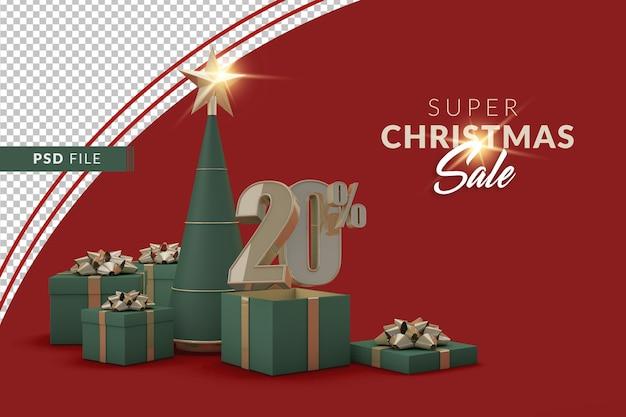 クリスマスツリーとギフトボックス付きのスーパークリスマスセール20%