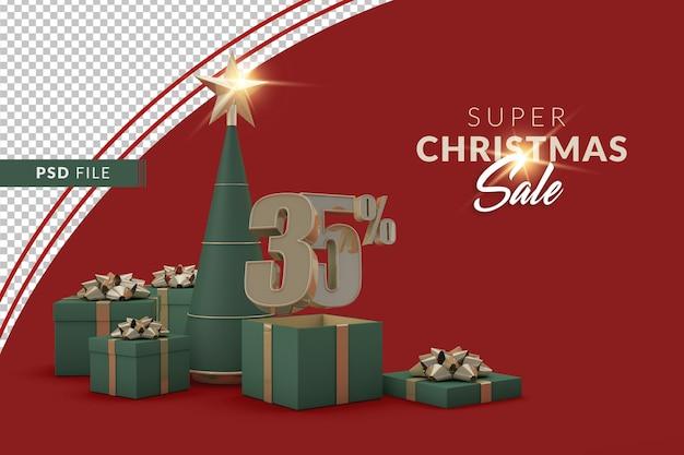 Супер рождественская распродажа 35 процентов с елкой и подарочной коробкой