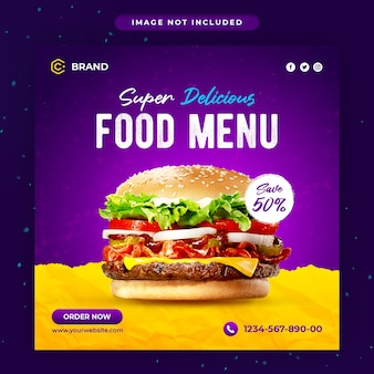 슈퍼 맛있는 햄버거 프로모션 음식 instagram 배너 또는 소셜 미디어 게시물 템플릿