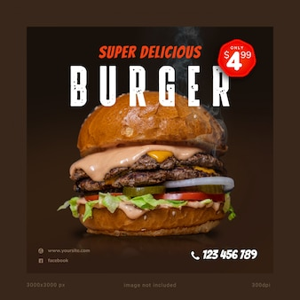Super delicious burger social media banner template