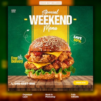 Super delicious food burger instagram post design template