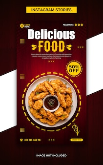 Супер вкусная еда instagram рассказы и шаблон веб-баннера Premium Psd