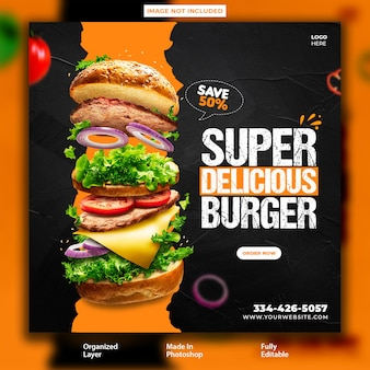 Super delicious food promotional post design template