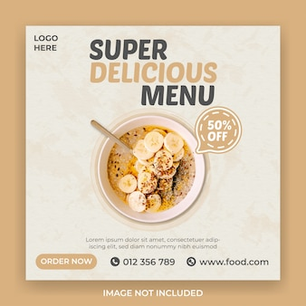 Super delicious food social media banner template