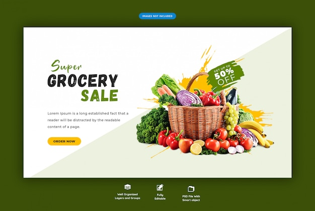 Super grocery sale web banner