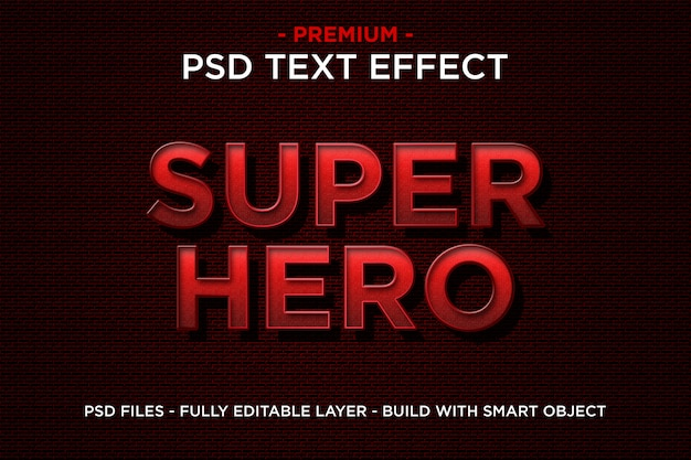 Super hero in 3d red text template