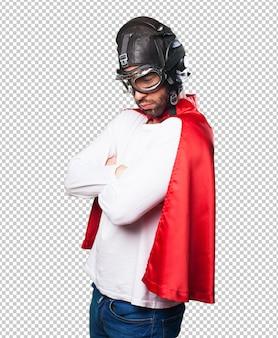 Super hero crossing arms
