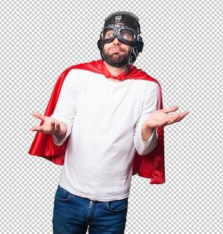 Super hero doing balance gesture