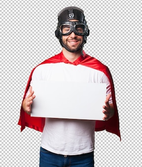Super hero holding a white banner