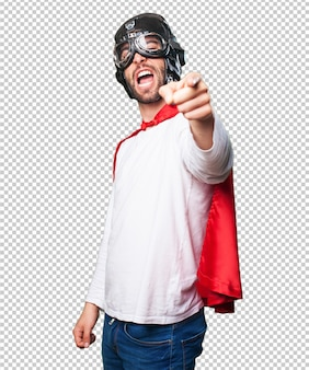 Super hero pointing front
