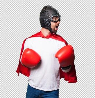 Супер герой в боксерских перчатках