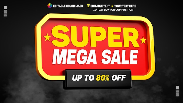 Super mega sale 3d text box with discount in 3d rendering banner