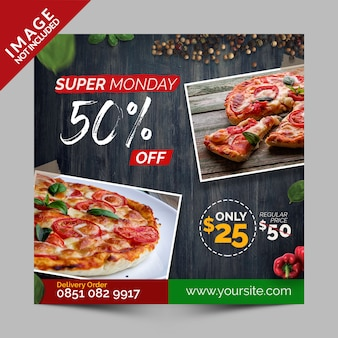 Super monday discount, square banner, flyer or instagram post for italian pizza restaurant