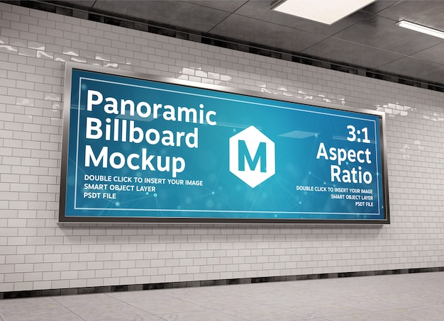 Super panoramic billboard frame in underground mockup