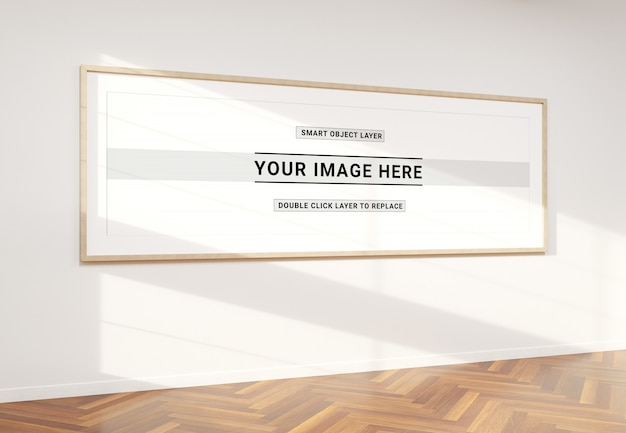 Super panoramic frame in interior mockup