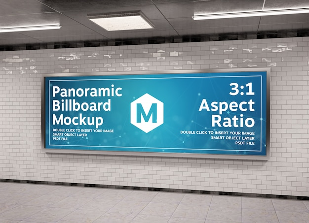 Super panoramic frame in underground mockup