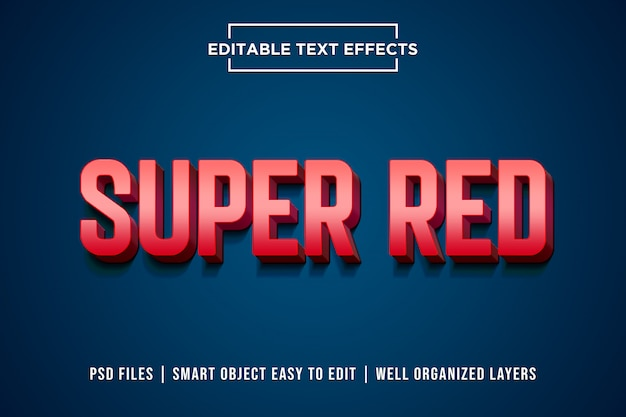 Super red 3d text style effect premium psd