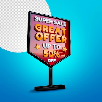 Super sale 3d banner mockup isolated on blue