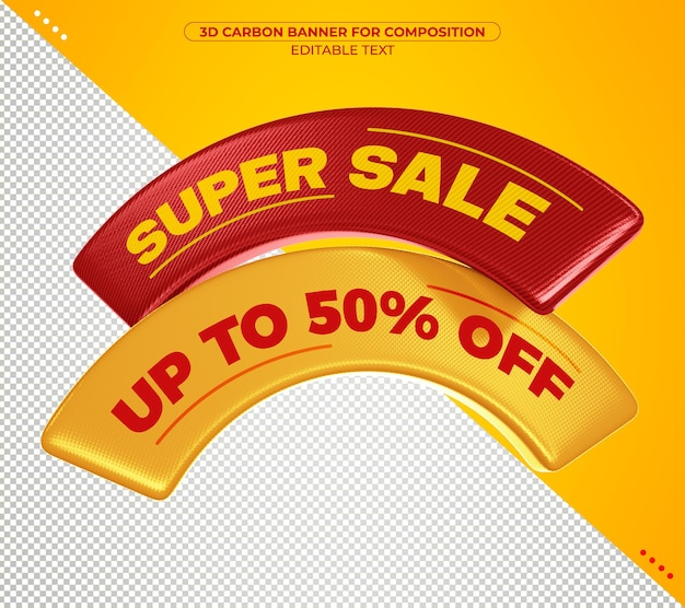 Super sale 3d carbon banner for composition isolated