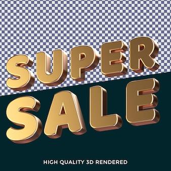 Супер распродажа 3d визуализировала изолированный текстовый стиль с реалистичной золотой металлической текстурой