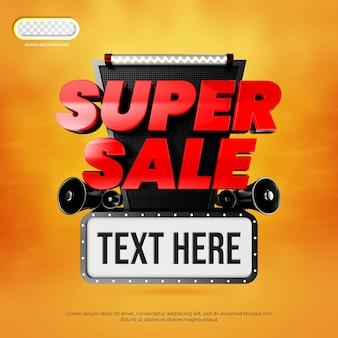 Super sale banner 3d premium psd