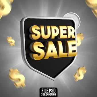 Супер распродажа черный с золотым 3d рендерингом