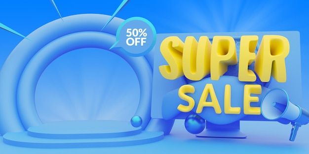 슈퍼 판매 할인 프로모션 배너 템플릿