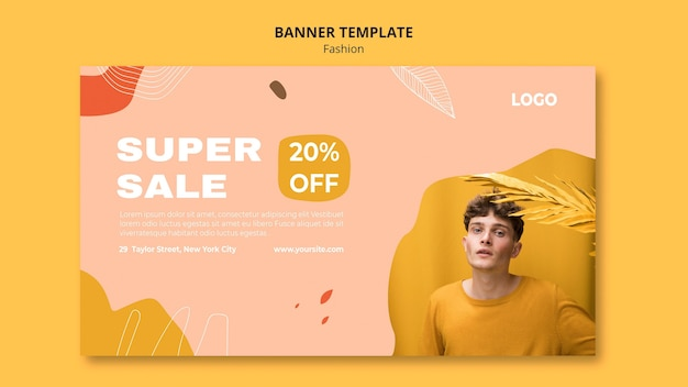 Super sale male fashion banner template