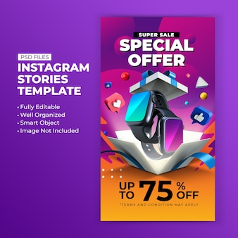 Super sale special offer promotion for instagram post stories design template